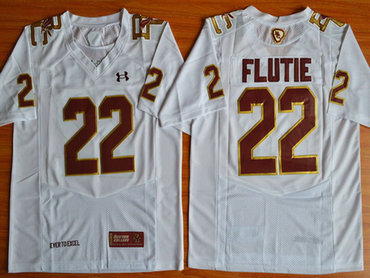 Men's Boston College Eagles #22 Doug Flutie White Fenway Event College Football Under Armour Jersey