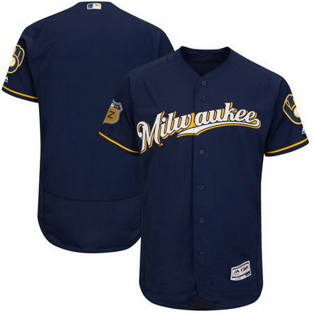 Men's Brewers Blank Navy 2017 Spring Training Flexbase Jersey