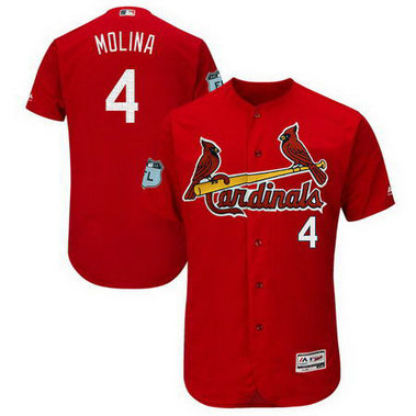 Men's Cardinals 4 Yadier Molina Red 2017 Spring Training Flexbase Jersey