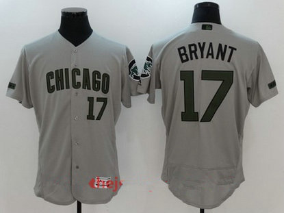 Men's Chicago Cubs #17 Kris Bryant Gray With Green Memorial Day Stitched MLB Majestic Flex Base Jersey