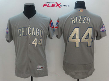 Men's Chicago Cubs #44 Anthony Rizzo Gray World Series Champions Gold Stitched MLB Majestic 2017 Flex Base Jersey