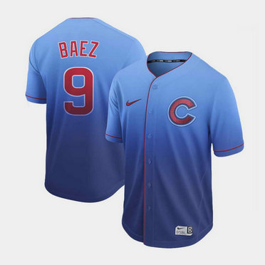 Men's Chicago Cubs #9 Javier Baez Nike Blue Fade Jersey