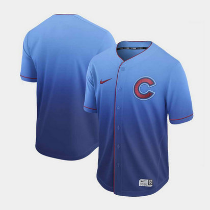 Men's Chicago Cubs Blank Nike Blue Fade Jersey