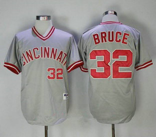 Men's Cincinnati Reds #32 Jay Bruce Gray Pullover 2013 Cooperstown Collection Stitched MLB Jersey