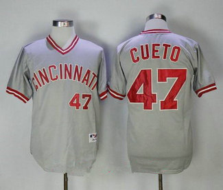 Men's Cincinnati Reds #47 Johnny Cueto Gray Pullover 2013 Cooperstown Collection Stitched MLB Jersey