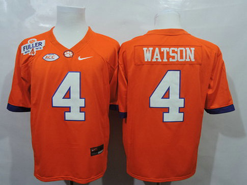 Men's Clemson Tigers #4 Deshaun Watson Orange College Football Jersey w-Steve Fuller Patch