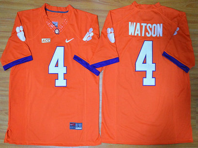 Men's Clemson Tigers #4 Deshaun Watson Orange College Football Nike Limited Jersey
