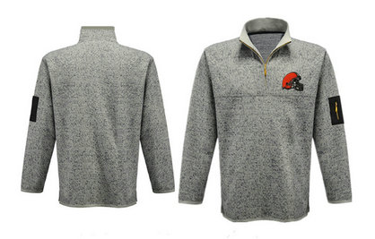 Men's Cleveland Browns Blank Antigua Gray Fortune Sweater Knit Microfleece Quarter-Zip Pullover Light Gray Jacket