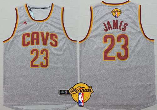 Men's Cleveland Cavaliers #23 LeBron James 2015 The Finals New Gray Jersey