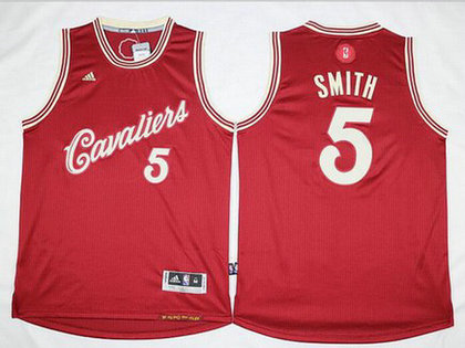 Men's Cleveland Cavaliers #5 J.R. Smith Revolution 30 Swingman 2015 Christmas Day Red Jersey