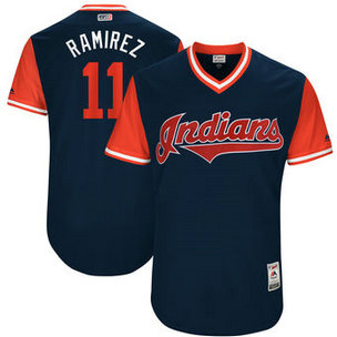 Men's Cleveland Indians #11 Jose Ramirez Nick Name Ramirez Majestic Navy 2017 Players Weekend Jersey