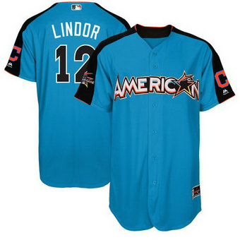 Men's Cleveland Indians #12 Francisco Lindor American League Majestic Blue 2017 MLB All-Star Game Authentic Home Run Derby Jersey