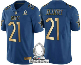 Men's Dallas Cowboys #21 Ezekiel Elliott Navy Blue With Gold NFC 2017 Pro Bowl Stitched Nike Game Jersey