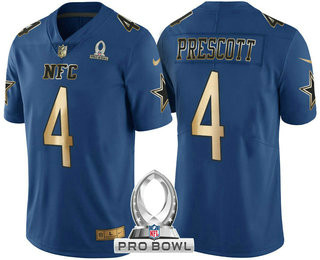Men's Dallas Cowboys #4 Dak Prescott Navy Blue With Gold NFC 2017 Pro Bowl Stitched Nike Game Jersey