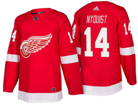 Men's Detroit Red Wings #14 Gustav Nyquist Red Home 2017-2018 Stitched Adidas Hockey NHL Jersey