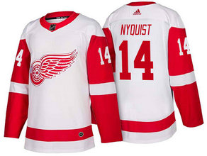 Men's Detroit Red Wings #14 Gustav Nyquist White 2017-2018 Stitched Adidas Hockey NHL Jersey