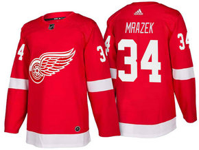 Men's Detroit Red Wings #34 Petr Mrazek Red Home 2017-2018 Stitched Adidas Hockey NHL Jersey
