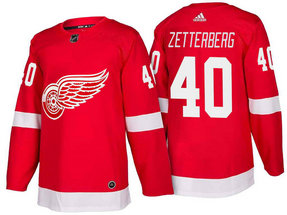 Men's Detroit Red Wings #40 Henrik Zetterberg Red Home 2017-2018 Stitched Adidas Hockey NHL Jersey