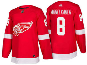 Men's Detroit Red Wings #8 Justin Abdelkader Red Home 2017-2018 Stitched Adidas Hockey NHL Jersey