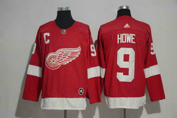 Men's Detroit Red Wings #9 Gordie Howe Red Home 2017-2018 Stitched Adidas Hockey NHL Jersey