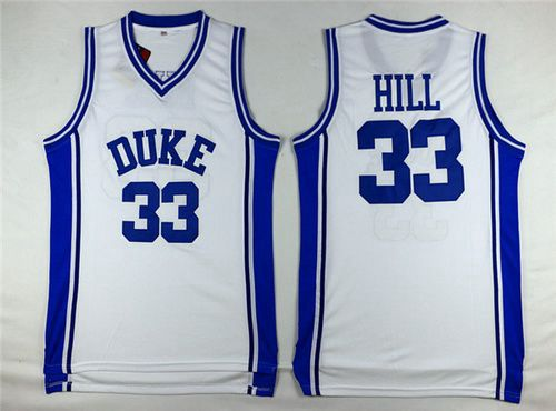 Men's Duke Blue Devils #33 Grant Hill White College Basketball Swingman Jersey
