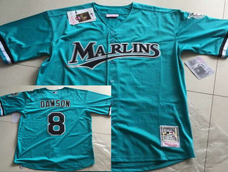 Men's Florida Marlins #8 Andre Dawson Mesh BP Teal Green Throwback Jersey