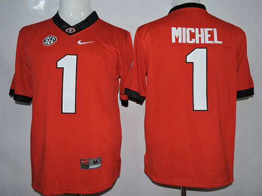Men's Georgia Bulldogs #1 Sony Michel Red 2015 College Football Nike Limited Jersey