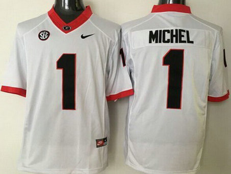 Men's Georgia Bulldogs #1 Sony Michel White 2015 College Football Nike Limited Jersey
