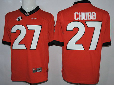 Men's Georgia Bulldogs #27 Nick Chubb Red 2015 College Football Nike Limited Jersey