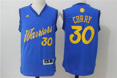 Men's Golden State Warriors #30 Stephen Curry Adidas Royal Blue 2016 Christmas Day Stitched NBA Swingman Jersey