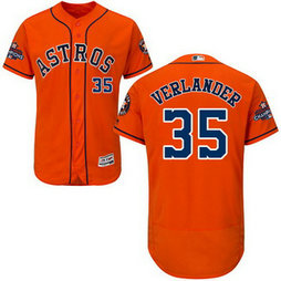 Men's Houston Astros #35 Justin Verlander Orange 2017 World Series Champions Stitched Flexbase Jersey