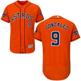 Men's Houston Astros #9 Marwin Gonzalez Orange 2017 World Series Champions Stitched Flexbase Jersey