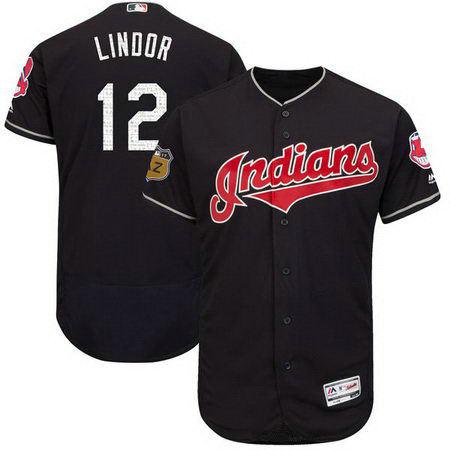 Men's Indians 12 Francisco Lindor Navy 2017 Spring Training Flexbase Jersey