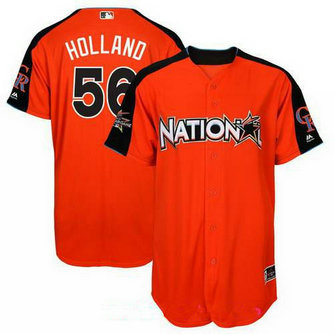 Men's Kansas City Royals #56 Greg Holland National League Majestic Orange 2017 MLB All-Star Game Authentic Home Run Derby Jersey