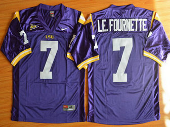 Men's LSU Tigers #7 Le.Fournette Purple 2015 College Football Nike Limited Jersey