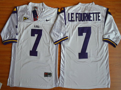 Men's LSU Tigers #7 Le.Fournette White 2015 College Football Nike Limited Jersey