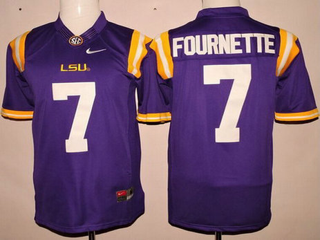 Men's LSU Tigers #7 Leonard Fournette Purple 2015 College Football Nike Limited Jersey