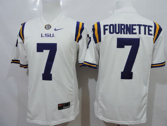 Men's LSU Tigers #7 Leonard Fournette White 2015 College Football Nike Limited Jersey