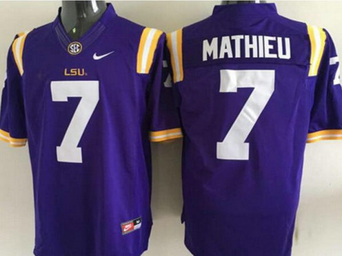 Men's LSU Tigers #7 Tyrann Mathieu Purple 2015 College Football Nike Limited Jersey