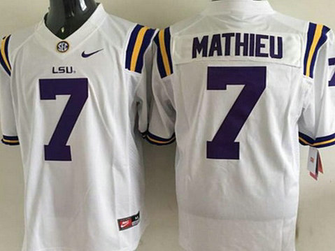Men's LSU Tigers #7 Tyrann Mathieu White 2015 College Football Nike Limited Jersey