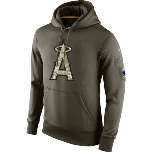 Men's Los Angeles Angels Nike Olive Salute To Service KO Performance Hoodie