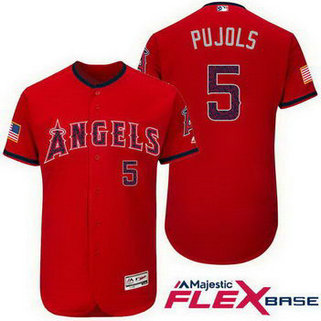 Men's Los Angeles Angels Of Anaheim #5 Albert Pujols Red Stars & Stripes Fashion Independence Day MLB Majestic Cool Base Stitched Jersey