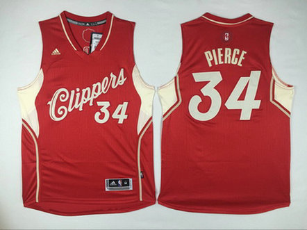Men's Los Angeles Clippers #34 Paul Pierce Revolution 30 Swingman 2015 Christmas Day Red Jersey