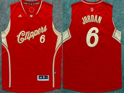 Men's Los Angeles Clippers #6 DeAndre Jordan Revolution 30 Swingman 2015 Christmas Day Red Jersey