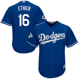 Men's Los Angeles Dodgers #16 Andre Ethier Blue New Cool Base 2017 World Series Bound Patch Jersey