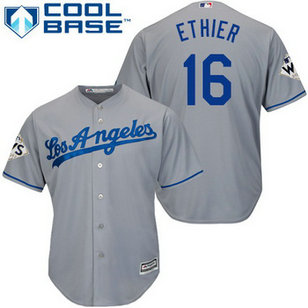 Men's Los Angeles Dodgers #16 Andre Ethier Grey New Cool Base 2017 World Series Bound Patch Jersey