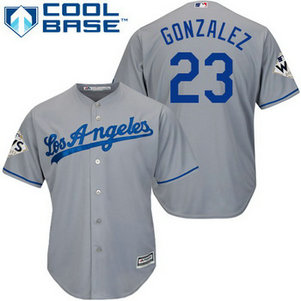 Men's Los Angeles Dodgers #23 Adrian Gonzalez Grey New Cool Base 2017 World Series Bound Patch Jersey