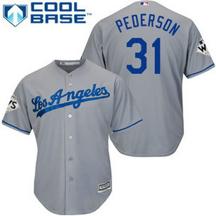 Men's Los Angeles Dodgers #31 Joc Pederson Grey New Cool Base 2017 World Series Bound Patch Jersey
