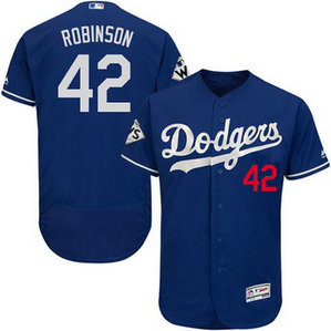 Men's Los Angeles Dodgers #42 Jackie Robinson Blue Flexbase 2017 World Series Bound Patch Jersey