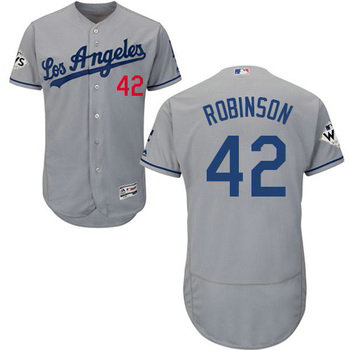 Men's Los Angeles Dodgers #42 Jackie Robinson Grey Flexbase 2017 World Series Bound Patch Jersey